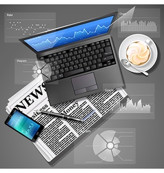 Laptop and mobile phone with newspaper and coffee vector