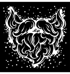 Hipster mustache and beard in line art style vector