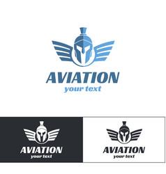aviation logo design three vector image