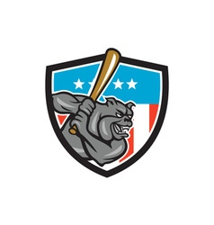 Bulldog baseball batting usa crest cartoon vector