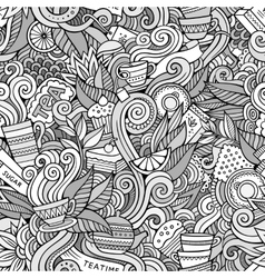 Cartoon hand-drawn doodles on the subject of tea vector image vector image