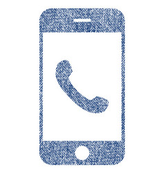 Cell phone fabric textured icon vector
