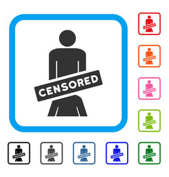 Censored oral sex persons framed icon vector