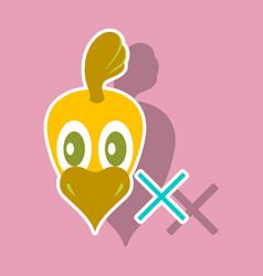 chicken bird engraving drawn sticker vector image