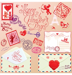 Collection of love mail design elements - stamps vector image vector image