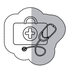 contour suitcase health with stethoscope icon vector image vector image