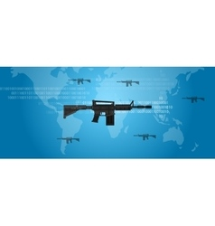 Cyber warfare concept gun digital code world wide vector