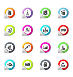 Extraction of oil icons set vector