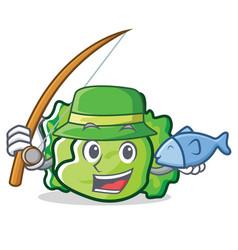 Fishing lettuce character cartoon style vector