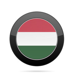 Flag of hungary shiny black round button vector