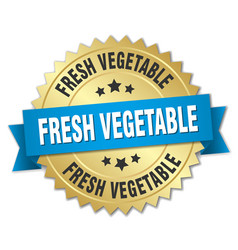 Fresh vegetable 3d gold badge with blue ribbon vector