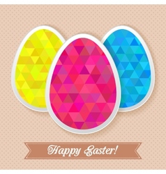 Greeting easter card with triangles eggs vector image