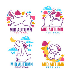 Mid autumn festival labels emblems and logo with vector