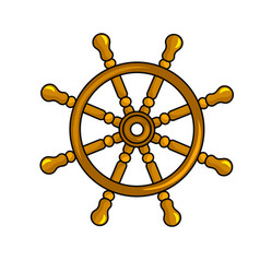 Nautical steering wheel icon vector