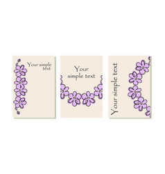 Purple flower cards vector