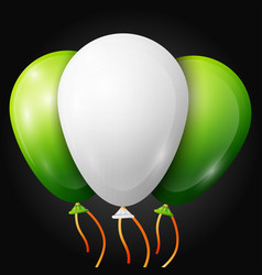 realistic green white balloons with ribbons vector image