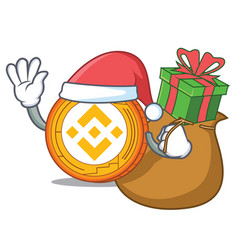 Santa with gift binance coin mascot catoon vector