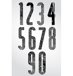 Tall poster headline numbers with halftone lines vector
