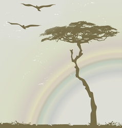 Tree birds rainbow vector