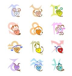 Zodiac signs looking as hearts and Zodiac symbols vector image vector image