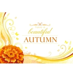 Autumn background with marigold flower falling vector