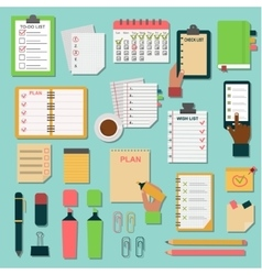 Agenda business notes set vector image