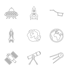 Outer space icons set outline style vector