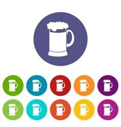 Mug of dark beer set icons vector image