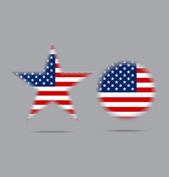 Usa flag star halftone effect style isolated vector