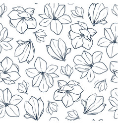 Spring seamless pattern with magnolia vector
