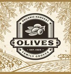Retro olives label on harvest landscape vector
