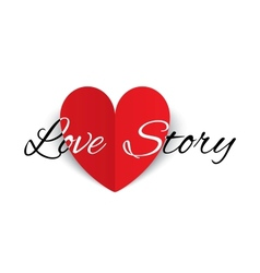 Love story paper heart sign valentines day card vector