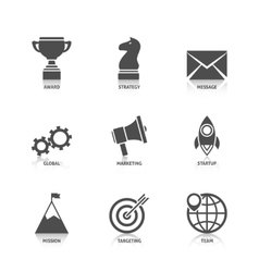 Start up icons with reflection vector