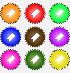 Bookmark icon sign a set of nine different colored vector