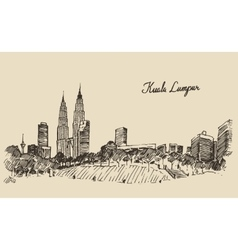 Kuala lumpur skyline engraved hand drawn sketch vector