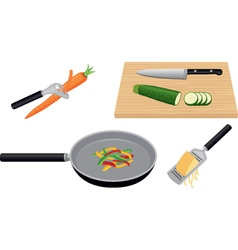 Preparing fresh vegetables and cheese vector