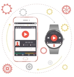 Smartphone and smart watch vector