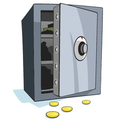 Open bank safe vector