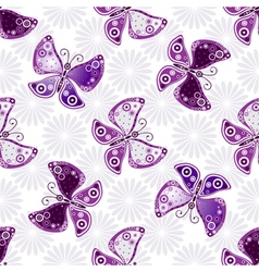 Seamless floral pattern with violet butterflies vector