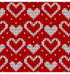 Red knitted background with hearts vector