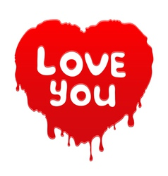 Heart with text love you vector