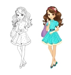 Coloring book of cute brunette vector