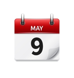 May 9 flat daily calendar icon date and vector