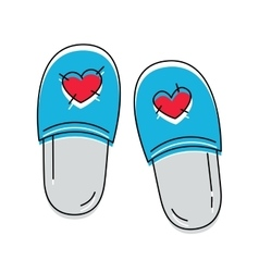 Cute slippers with hearts icon on the white vector
