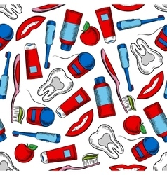 Oral hygiene and dental care seamless pattern vector
