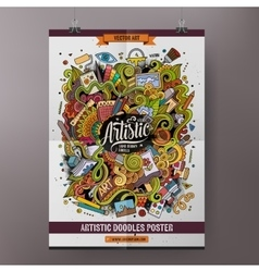 Cartoon doodles art poster template vector