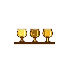Beer flight glass retro vector