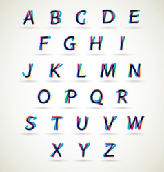 Alphabet set with CMYK color vector image vector image