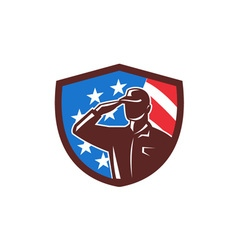 American soldier saluting usa flag crest retro vector