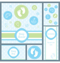 baby card set circles boy vector image